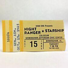 1985 Night Ranger and Starship Concert Ticket Stub Bjcc Birmingham Alabama
