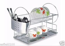 SPECIAL ! Stainless Steel Dish Rack 2-Tier with Removable cutlery organizer
