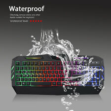 QWERTZ Gaming Tastatur Keyboard Beleuchtet Keypad Gamer für PC USB Kabel Schwarz