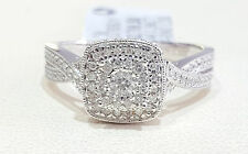 14k White Gold Double Halo Round Twist Vintage Antique Diamond Engagement Ring