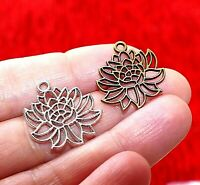 8x Filigree Lotus Flower Yoga Pendants Charms for Bracelet Jewelry Findings D023
