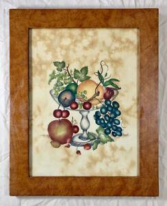 Vintage 1988 NANCY ROSIER Peaches & Grapes Folk Period Art Theorem Painting