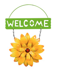"Home Garden Pool Yard Patio - Flower Welcome Sign - Yellow Metal 11"" L - New"