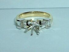 18K YELLOW & WHITE GOLD BAGUETTE CUT DIAMOND SEMI MOUNT ENGAGEMENT RING