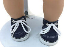 Boy Navy Boat Canvas Shoes for 15 inch Bitty Baby & Twin Doll Clothes