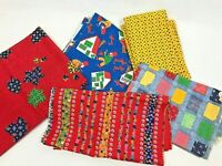 Vintage Fabric Lot 1970's MCM Modern Flower Power Patchwork Red Blue Bright