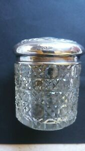 Vintage Hobnail glass container with Sterling Silver lid..Walker & Hall...#D 1
