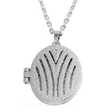 PICTURE LOCKET BEAUTIFUL OPENWORK DESIGNER STYLE SILVER TONE MOTHER'S LOCKET 18""