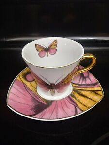 Grace & Teaware Porcelain Butterfly Matching Coffee Tea Cup + Saucer Moving Sale