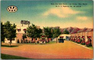 1940s LAS CRUCES New Mexico Postcard DONA ANA AUTO COURTS Linen / Mileage Chart