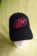 NEW W/ TAGS! WOMEN'S NEON PINK/BLACK RIPPED PATCH LOOK MILLER LITE CAP HAT!