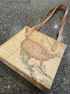 "ALVIERO MARTINI ""1A CLASSE"" Geo Classic Shoulder Bag Made In Italy PVC 01075250"