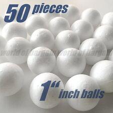 """50 ct Styrofoam Balls 1"""" Round White Styro Foam Polystyrene Sphere Art Craft C52"""