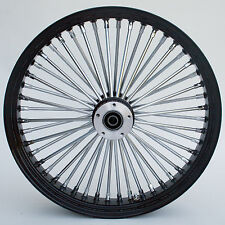 "Black/Chrome 48 King Spoke 26"" x 3.5"" Front Single Disc Wheel for Harley Models"