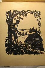original Scherenschnitt - In einem kühlen Grunde  - 30 x 23 cm um 1930