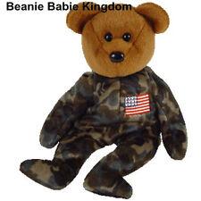 """TY Beanie Babie Eroe * * LE FORZE ARMATE 7"""" Stati Uniti Orsacchiotto-Bandiera sul petto"""