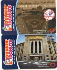 2  DIFFERENT Dunkin Donuts .NEW YORK YANKEES STADIUM . MINT GIFT CARD