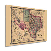 HISTORIX Vintage 1866 Texas Map Poster