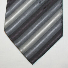 NEW John Ashford Silk Neck Tie with Gray and Black Stripes 1546