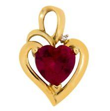 Women's 2.21 ct Ruby AAA Grade & Diamond Heart Pendant in 10k Solid Yellow Gold
