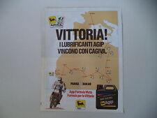 advertising Pubblicità 1990 AGIP e PARIS DAKAR e CAGIVA LUCKY EXPLORER