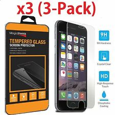3x Premium Real Screen Protector Tempered Glass for iPhone X 6 6s 7 8 Plus 5 SE Cleaning Wipe Set