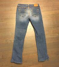 True Religion Denim Jeans 112790 Straight Leg Woman's Size 28 Blue Distressed