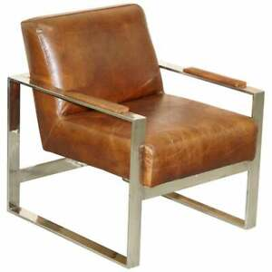 STUNNING LUXURY CHROME & VINTAGE HERITAGE BROWN LEATHER OCCASIONAL ARMCHAIR
