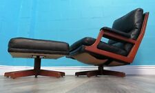 VINTAGE QUALITY RETRO 70S DANISH LEATHER ARMCHAIR AND STOOL
