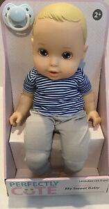 "Perfectly Cute My Sweet Baby Blonde Baby BOY Doll 14""H New"