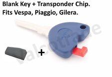 Uncut Key Blank for Gilera, Vespa, Piaggio Scooters, PLUS Transponder Chip.