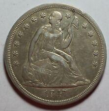 1847 Seated Silver Dollar WR543