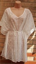 PRIMARK WHITE TRIBAL AZTEC BELTED BEACH LACE LONG TOP TUNIC KAFTAN BLOUSE 18 20