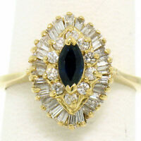 14k Yellow Gold 1.00ctw Marquise Sapphire Solitaire Ring w/ Double Diamond Halo