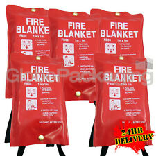 5 x QUALITY QUICK RELEASE LARGE FIRE BLANKETS 1M x 1M - HOME WORKPLACE KITCHEN