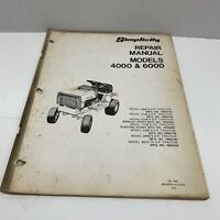Simplicity Lawn Garden Tractor Repair Manual Models 4000 & 6000 vintage