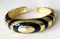 Vintage VALENTINO Gold Tone Black Enamel Hinged Cuff Bracelet Runway Statement
