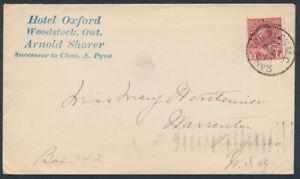 1913 Hotel Oxford Cover, Woodstock Ont, Tor & Lon MC/ No3 RPO