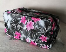 Royal Orchid Passion Cosmetic Make-up Bag Grey Pink Flower Print