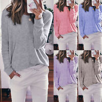 Women Ladies Casual Pullover Long Sleeve Loose Trim Tops Tunic T-Shirt Blouse