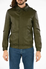 DROME men Jackets Green Soft Leather Bomber Biker Jacket Size M Green M (Stan...