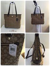NWT Coach Outline Sign Zip Top Tote Handbag in Khaki/Brown F 36185