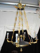 Antique Circa 1930 French Empire Hanging Chandelier Gilt Bronze 4 Arms