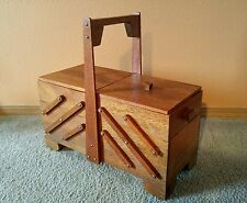 Vintage Wooden Accordion Folding Sewing Box 3 Tiers - Unique