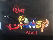 "Walt Disney World Tote Bag Large Black Embroidered Mickey Pooh Tigger 20"" Purse"