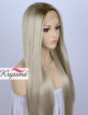 Best Ombre Light Blonde Lace Wig Long Straight Synthetic Wigs Heat Resistant 22""