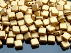 25pcs CzechMates Tile Beads 6mm Square Two Hole Matte Metallic Flax K0171