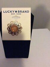 $35 Lucky Brand Gold Tone Citrine Sunburst Ring #100