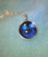 Vibrant Shimmery AQUARIUS Glass Dome Necklace Pendant Zodiac Horoscope Birthday