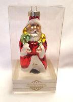 "Santa Ornament Blown Glass Carrying Presents Red Greenbrier Original Box 4"""